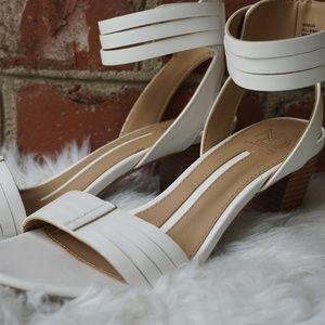 New Directions White Heeled Sandals